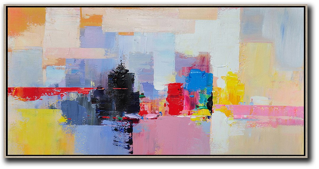 Panoramic Palette Knife Abstract Skyline Art #L31D
