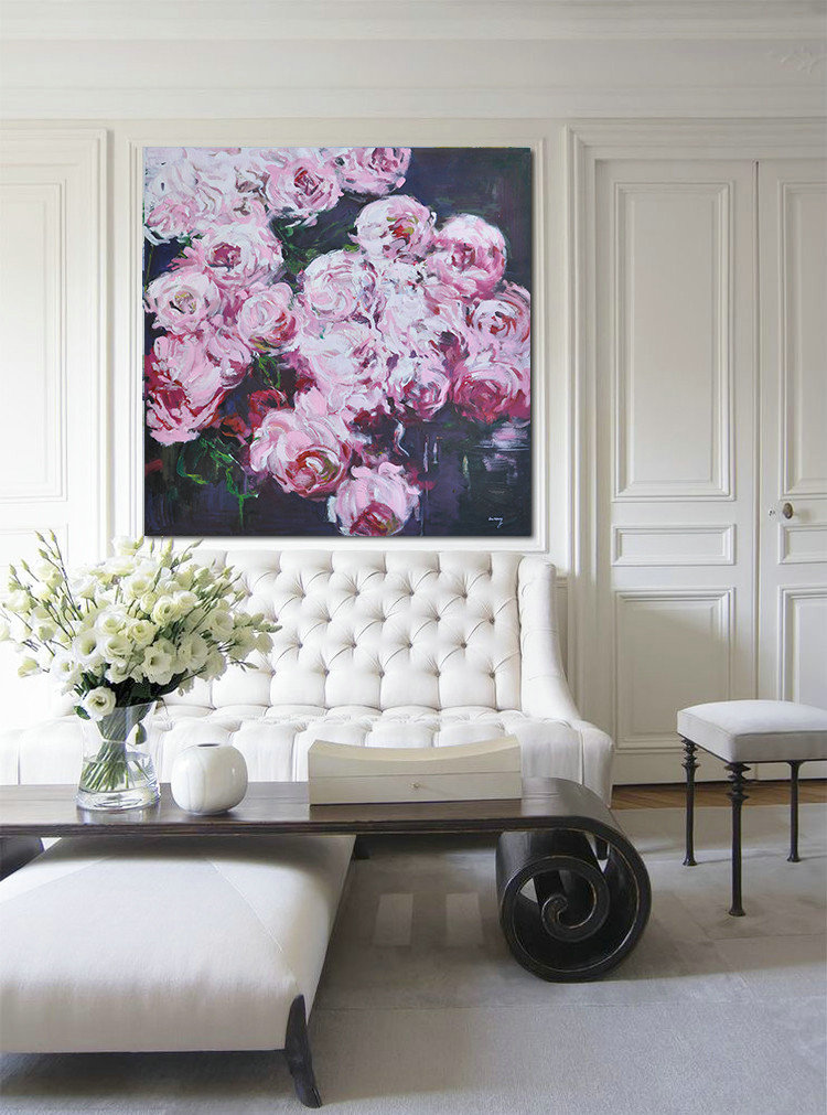 Abstract Flower Oil Painting Large Size Modern Wall Art #ABS0A16