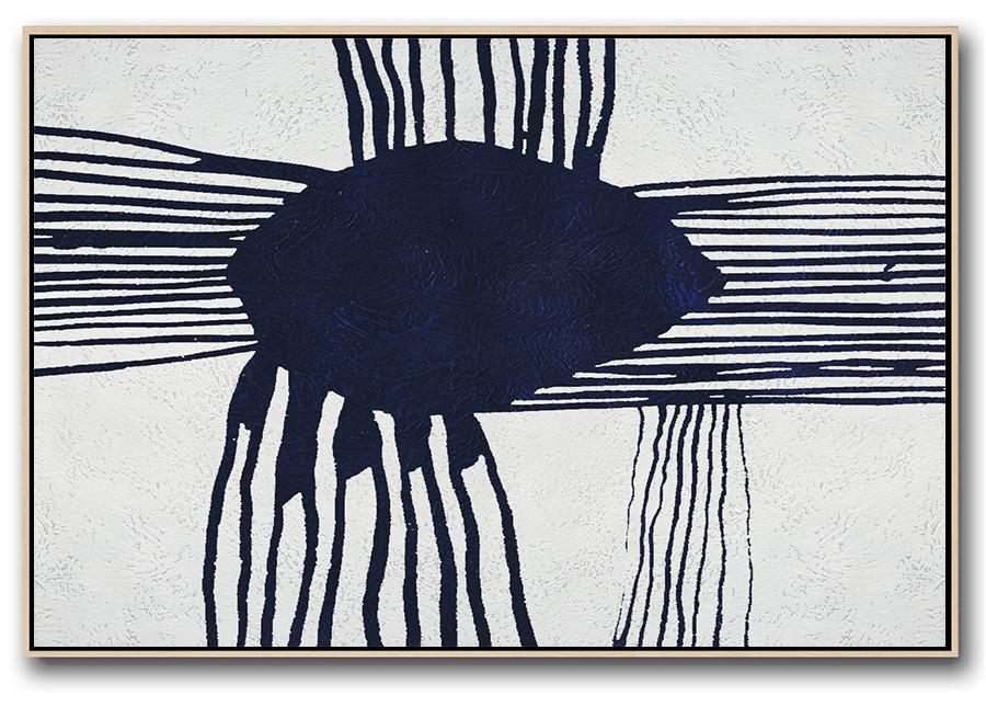 Horizontal Navy Blue Minimal Art #NV103C