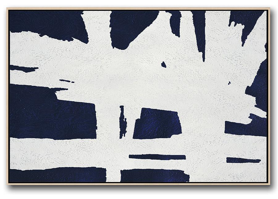 Horizontal Abstract Painting Navy Blue Minimalist Painting On Canvas - Stretched Canvas Wall Art Large
