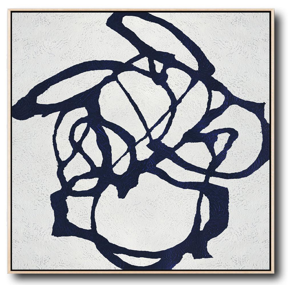 Navy Blue Minimalist Painting #NV134A