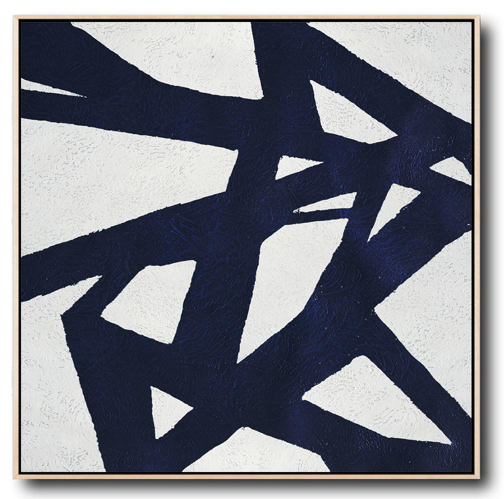 Navy Blue Minimalist Painting #NV136A
