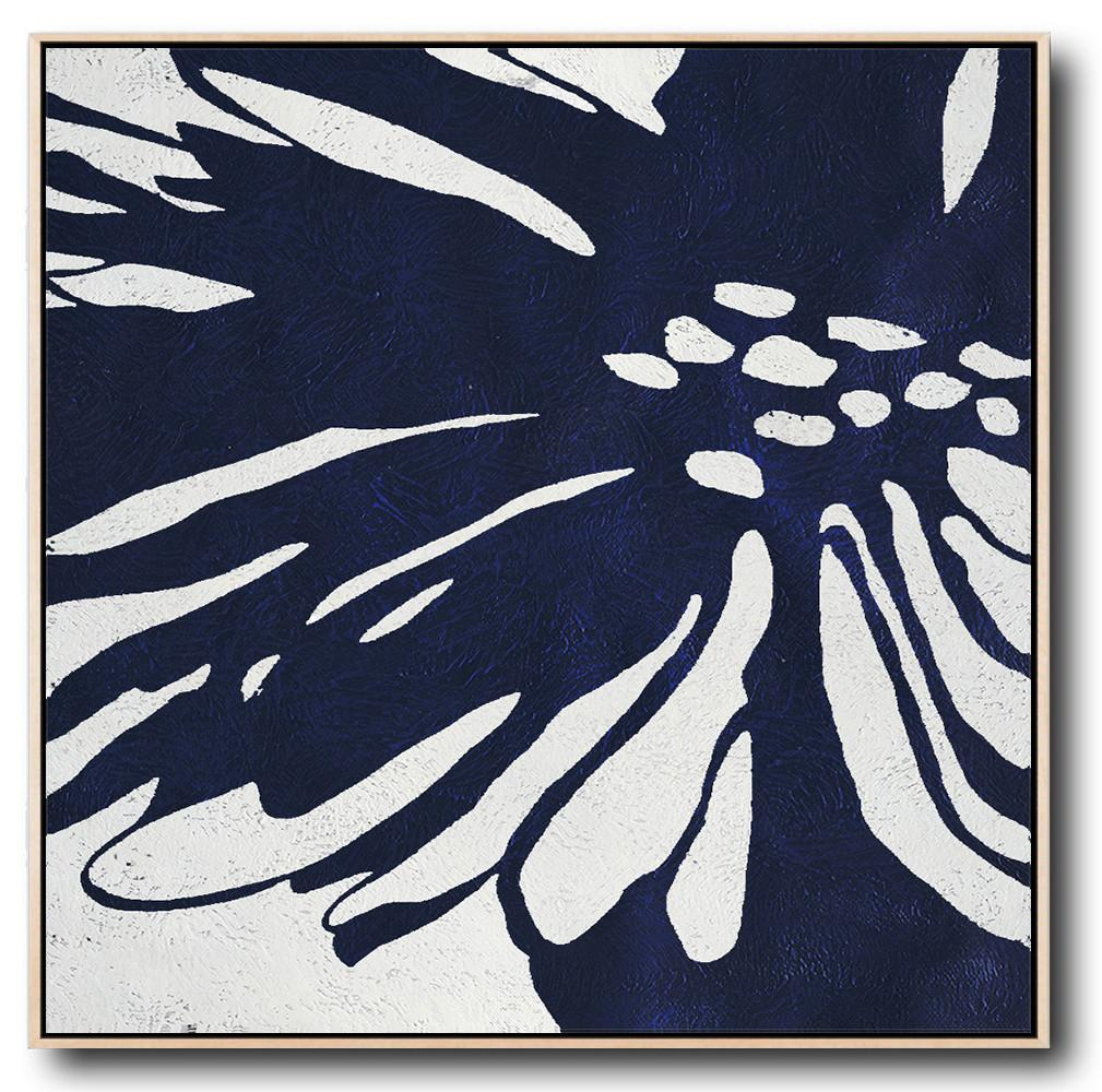 Navy Blue Minimalist Painting #NV287A