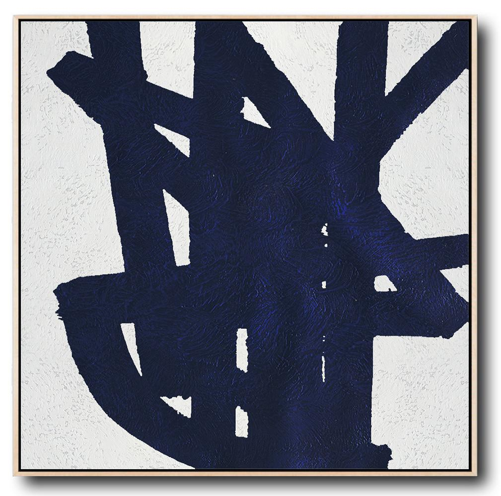 Minimalist Navy Blue And White Painting - Large Oil Paintings Huge