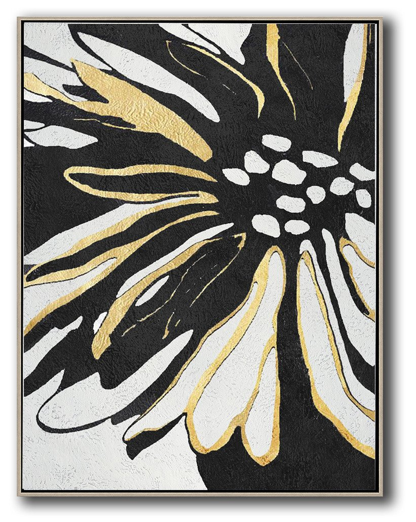 Hand-Painted Black And White Minimal Painting On Canvas - Abstract Art Artists Cafe Room Extra Large