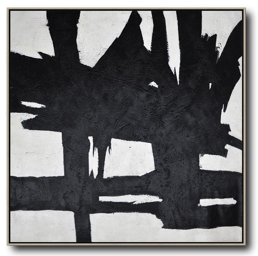 Hand-Painted Oversized Minimal Black And White Painting - Canvas Pictures Recreation Room Large