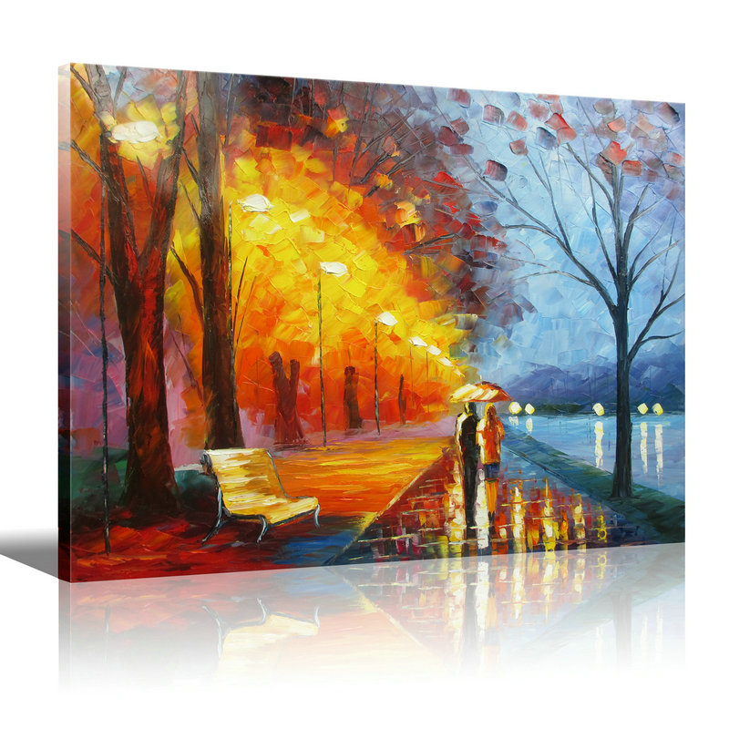 Bedroom Decor Landscape Oil Painting On Canvas Romantic Oil Painting lovers walk on the side of the lake