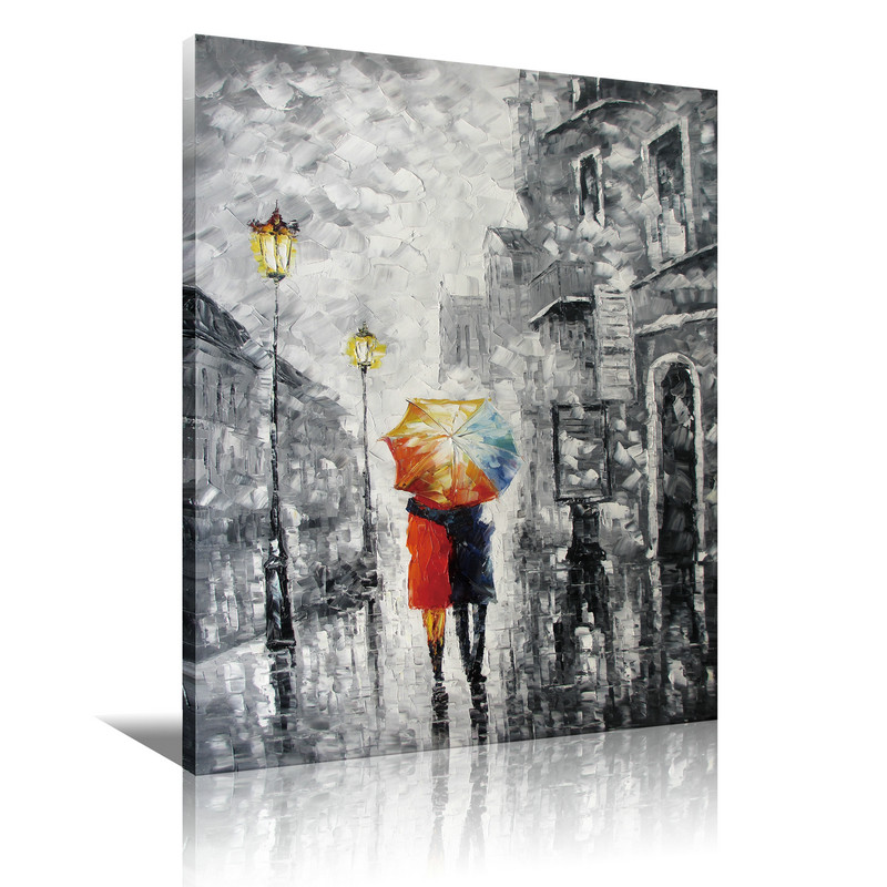 "Canvas Art ""Lovers under the one umbrella"" Palette Knife Painting Black White Red Blue"